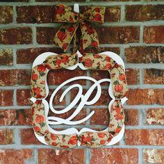 Monogram Burlap Wreath by TheWhiteBow on Etsy https://www.etsy.com/listing/244980557/monogram-burlap-wreath