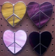 Stained Glass Peace Hearts by KickassStainedGlass on Etsy, $20.00