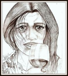 a woman and a glass with wine..!!!!