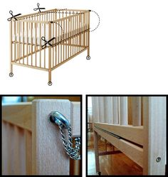 Ikea hacker turned an ikea crib into a co-sleeper crib. Genius!