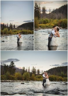 Trash the dress.  Classic Colorado Romance, Double A Barn wedding, Gillespie Photography, Rustic Wedding, Trash the Dress, Bride and Groom in a River, www.classiccoloradoromance.com