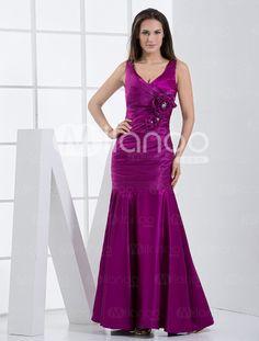 Grape Purple Flower V-Neck Bridesmaid Dress  Item Code:#03930180836 http://www.milanoo.com/Grape-Purple-Flower-V-Neck-Bridesmaid-Dress-p180836.html
