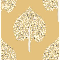 Add a modern touch to your walls with the Grove Tree Wallpaper from A-Street Prints. The chic design features clean lines with a white base and colorful leaves, perfect for adding interest and texture to accent walls or larger spaces. Embossed Wallpaper, Damask Wallpaper, Tree Wallpaper, Wallpaper Samples, Geometric Wallpaper, Leaves Wallpaper, Cheap Wallpaper, Feature Wallpaper, Luxury Wallpaper