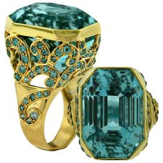 Crevoshay Aquamarine Blue Zircon Diamond Gold Ring | From a unique collection of vintage cocktail rings at https://www.1stdibs.com/jewelry/rings/cocktail-rings/