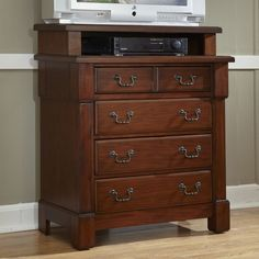 Media Chest Drawer Storage Transitional Solid Wood Veneer Mahogany Furniture New #HomeStyles #Transitional #Drawer #Storage #Furniture #Chest