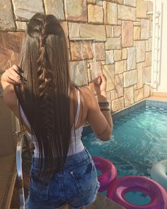 Half Up Braided Hairstyle Idea // ig: Haircuts For Long Hair, Straight Hairstyles, Pretty Hairstyles, Braided Hairstyles, Hair Colora, Curly Hair Styles, Natural Hair Styles, Hair Upstyles, Tousled Hair