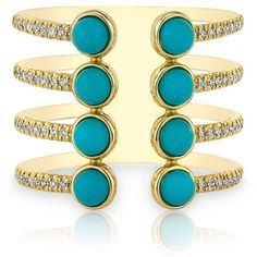 14kt yellow gold turquoise diamond electric ring ($1,269) ❤ liked on Polyvore featuring jewelry and rings