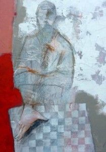 titel ;met de handen op tafel by Marjan Nagtegaal Painting, Painting Art, Paintings, Drawings