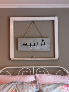 Idea for displaying signs and quotes at JC' b-day party. Frame and rope.