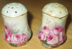 Vintage or Antique Floral Porcelain Salt & Pepper set unknown age Pink Roses