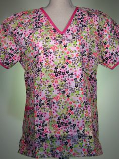 #caringplus scrub top - Floral Flowers in pink - CaringPlus scrubs and uniforms - workwear clothing for nurses, caregivers and other healthcare professionals.  Perfect apparel for doctor's, dental and optician offices, nursing homes, rehab centers, vet clinics, animal hospitals, or medical labs.