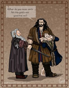 The Hobbit: Bad Influence by wolfanita on DeviantArt Dwalin's brother Balin and Thorin. Oh! Can't forget poor Bilbo!