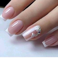 Elegant Nails, Stylish Nails, Elegant Bridal Nails, Bride Nails, Wedding Nails, French Nail Designs, Nail Art Designs, Bridal Nails Designs, French Nails