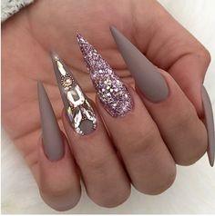 Nail art from the NAILS Magazine Nail Art Gallery, gel, nude nails, matte top… - Bling Stiletto Nails, Rhinestone Nails, Glitter Nails, Pink Glitter, Coffin Nails, Nail Bling, Sparkle Nails, Elegant Nail Designs, Diy Nail Designs