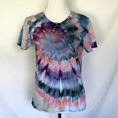 Tie Dye Womens Spiral in Pink Purple and Grey  by HumbleDyeDesigns, $24.00