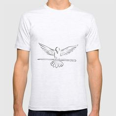 Soaring Dove Clutching Staff Front Drawing T-shirt by patrimonio Retro Fashion, Drawings, Tees, Mens Tops, T Shirt, Stuff To Buy, Style, Supreme T Shirt, Swag