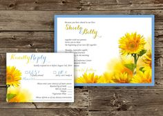 Sunflower Wedding Invitation | Sunflower Invitation | Late Summer Invite | Country Wedding Invite