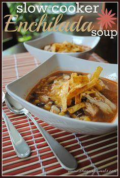 Slow Cooker Chicken Enchilada Soup- SKINNY recipe @shugarysweets
