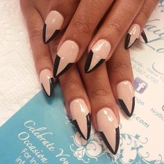 #ShareIG Black & Nude by @oleidys_naillounge #nails #naillounge