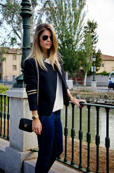 love this navy blue and gold accents Jacket