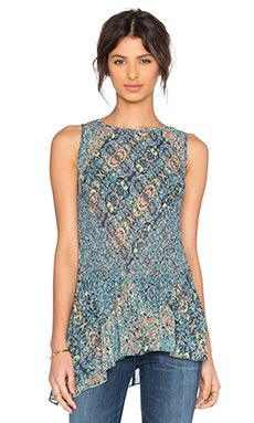 BCBGeneration Pleated Asymmetrical Tank in Mint Tea Multi