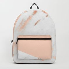 Pink Quartz and White Marble Rose Gold Backpack by naturemagick Cute Mini Backpacks, Gold Backpacks, Stylish Backpacks, School Backpacks, Mini Backpack Purse, Backpack For Teens, Bags For Teens, Girls Bags, Cheap Purses