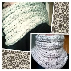 I made this mobius cowl :)  I love it! I used 2 strands of worsted yarn.  (Just regular yarn)  It was done on a flat loom or long loom.  It is double knit using a triple knit stitch.  I made it about 2 ft long, brought all the yarn to one side of the loom like you would for casting off but, instead I brought up the opposite end (like you would in making a brimmed hat) knit over and did a stretchy bind off.