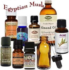 How to make Egyptian musk. An eyedropper. A one cup size bottle. Patchouli essential oil 9 drops. Rose essential oil 9 drops. Cedar essential oil 7 drops. Amber essential oil 9 drops. Frankincense essential oil 7 drops. Myrrh essential oil 7 drops. Vanilla essential oil 5 drops. Almond oil to complete a cup. Seal the bottle let it rest for 21 days in a dark place…and voila