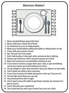 """me crazy when parents don't teach children proper table manners. plenty of adults could use this""""Drives me crazy when parents don't teach children proper table manners. plenty of adults could use this Planning Menu, Dining Etiquette, Etiquette Dinner, American Heritage Girls, Etiquette And Manners, Girl Scout Juniors, Little Bit, Thinking Day, Activity Days"""
