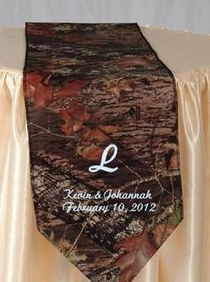 Mossy Oak Breakup table runner PERSONALIZED with names and wedding date. $32.00, via Etsy.