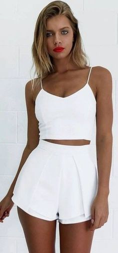 #SpringBreak #Outfits / Two Piece White Romper