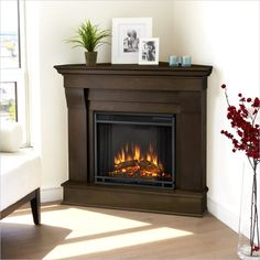Real Flame Chateau Dark Walnut Finish in. H Corner Gel Fireplace (Chateau Corner Fireplace by Real Flame-Dark Walnut), Brown (Metal) Corner Electric Fireplace, Corner Gas Fireplace, Portable Fireplace, Electric Fireplaces, Indoor Fireplaces, Fireplace Inserts, Indoor Electric Fireplace, Gel Fireplace, Design Interiors