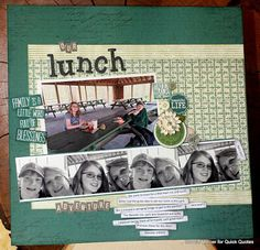 Our Lunch with Connie: Hi, Connie here with a scrapbook page using the Earth Wind Fire Collection by Quick Quotes.  I wanted to create a fun photo strip to go under the focal photo and the Canon iP8720 helped out with that.