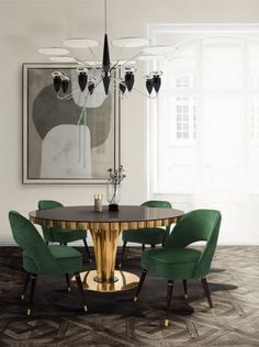 22 Easy Green Dining Room Design Ideas - Home Design - lmolnar - Best Design and Decoration You Need Apartment Interior Design, Modern Interior Design, Interior Design Inspiration, Design Ideas, Design Trends, Design Projects, Color Trends, Luxury Interior, Design Design
