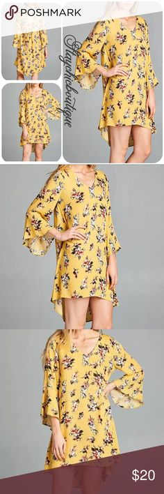 New Mustard Boho Floral Bell-Sleeve Hi-Low Dress New Mustard Boho Floral Bell-Sleeve Hi-Low Dress Zulily, size Medium Dresses