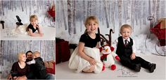 family, little boy, little girl, siblings, brother, sister, dress, snow, suit, black, white, couple, winter, christmas, holiday, photos, photography, snowman, reindeer antlers, bells