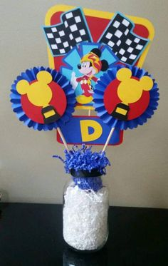 Items similar to Mickey Roadster Racers Centerpiece/Rosettes, Roadster Racers Birthday, Minnie Happy Helpers Centerpiece/Rosettes, Happy Helpers Birthday on Etsy Fiesta Mickey Mouse, Mickey Mouse Bday, Mickey Party, Mickey Mouse Birthday, Minnie Mouse Party, Mouse Parties, 3rd Birthday Parties, 2nd Birthday, Mickey And Friends