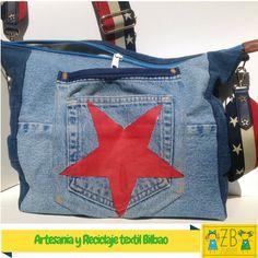 vaqueros estrella Bolsos Bolsos cachitos bolso y con de Bolsas pintada Sacos tenemos camiseta 2 una un pantalones Artesania una estrella reciclado xpYaF