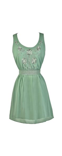 Metallic Blooms Embroidered Dress in Sage  www.lilyboutique.com