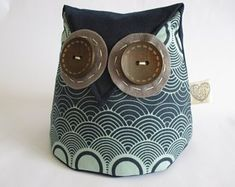 IHeartStitchingSA on Etsy Owl doorstop Owl Patterns, Sewing Patterns, White Leaf, Blue And White, Owl Doorstop, Owl Sewing, Geometric Owl, Fox Pattern, Door Stop