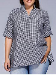 Plus Size Short Sleeve Plaid Loose-Fitting Blouse For Women Plus Size Sewing Patterns, Clothing Patterns, Dress Patterns, Plus Size Shorts, Plus Size Outfits, Taylor Dress, Moda Plus Size, Couture, Sewing Clothes