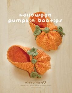 Halloween Pumpkins Baby Booties Crochet PATTERN  by meinuxing, $7.80