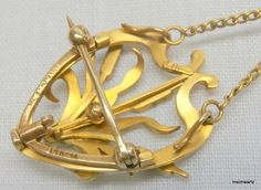 Back of Art Nouveau Necklace Brooch Old Mine Diamond Pearl 14k Gold Enamel