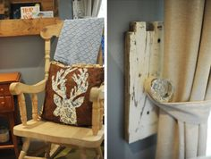 Rustic baby room decor, deer, deer pillow, door knob curtain tie back, nursery, blue, boy, owls, fish mobile, shabby, ultrasound pictures, open frame, window treatments, DIY.