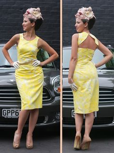 Natalie Chan fitted silk cotton, printed dress with back open panelling worn with blush pink pill box hat