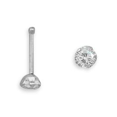 This brand new nose stud is a 22 gauge genuine .925 sterling silver nose stud featuring a sparkling round 3 millimeter cubic zirconia diamond simulant!  Please note that the price indicated is for ONE nose stud and the picture is only used for illustration purposes to show both a top view and a ...
