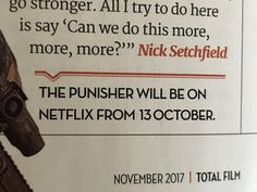 The latest issue of Total Film confirms The Punishers release date (October 13th).