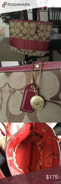 Like-New Coach Signature Stripe Red/Brown Tote Red/brown signature stripe Coach bag.  Red leather straps, red leather ID tag inside, gold accents Coach Bags Totes