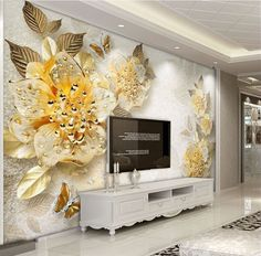 Beibehang photo wall mural wall paper Gold high-grade diamond flower jewelry background wall wallpaper home decor papel mural Unique Living Room Wallpaper, Room Wallpaper Designs, Modern Wallpaper, Custom Wallpaper, Plant Wallpaper, Flower Wallpaper, Photo Wallpaper, 3d Wallpaper, Living Room Murals