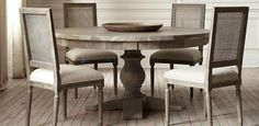 17th C. Monastery Round Table | Restoration Hardware 60 inch round ... Love the chairs too.